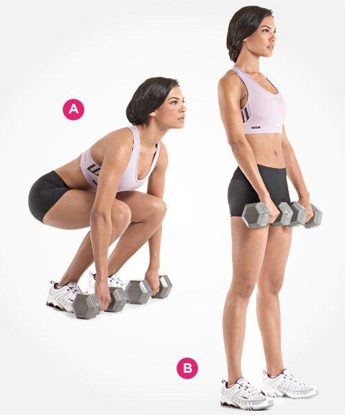 Deadlift với tạ đôi là bài tập gym tăng vòng 3 tương đối đơn giản