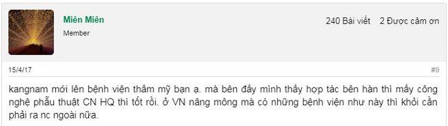 Rất nhiều chia sẻ và bình luận review về dịch vụ nâng mông tại Kangnam